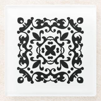 Black and White Damask Element Glass Coaster