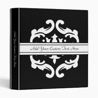 Black and White Damask Embellishment Custom Binder