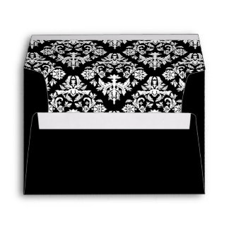 Black and White Damask Envelope