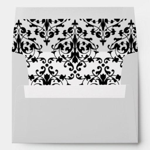 Black and White Damask Envelope Envelope