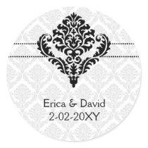 """black and white"" damask envelope seals"