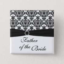 Black and White Damask Father of the Bride Pin