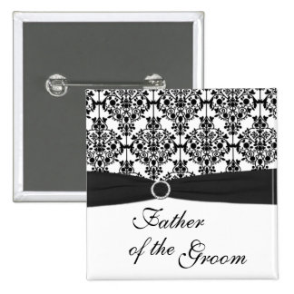 Black and White Damask Father of the Groom Pin