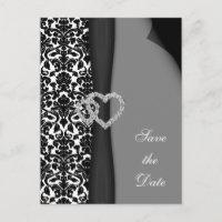 Black and White Damask FAUX ribbon diamante design Announcement Postcard
