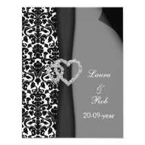 Black and White Damask FAUX ribbon diamante design Card