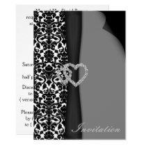 Black and White Damask FAUX ribbon diamante design Card
