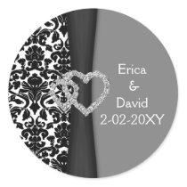 Black and White Damask FAUX ribbon diamante design Classic Round Sticker