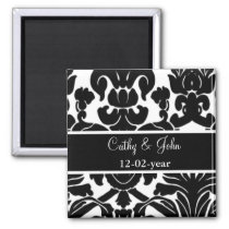 Black and White Damask FAUX ribbon diamante design Magnet