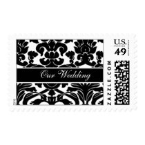 Black and White Damask FAUX ribbon diamante design Postage