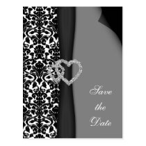 Black and White Damask FAUX ribbon diamante design Postcard
