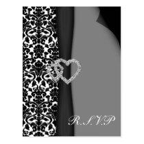 Black and White Damask FAUX ribbon diamante design Postcard