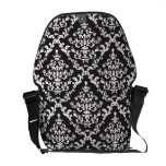 Black and White Damask Floral Commuter Bags