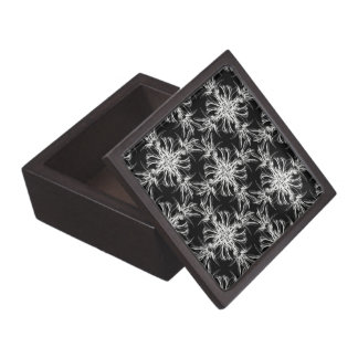 Black and White Damask Floral Pattern Jewelry Box