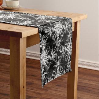 Black and White Damask Floral Pattern Short Table Runner