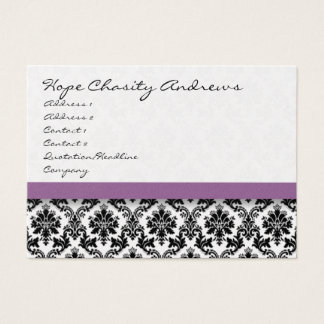 Black and White Damask Floral  with Purple Ribbon Business Card
