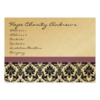 Black and White Damask Floral  with Purple Ribbon Business Card Templates