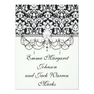 black and white damask flourish card