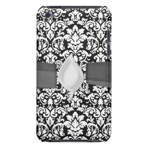 black and white damask flourish barely there iPod cover