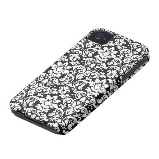 black and white damask flourish Case-Mate iPhone 4 cases