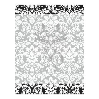 black and white damask flourish flyer