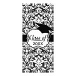 black and white damask flourish graduation full color rack card