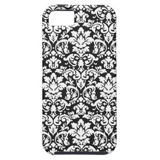 black and white damask flourish iPhone 5 cases