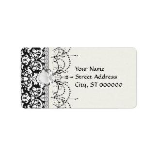 black and white damask flourish label