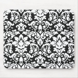 black and white damask flourish mouse pad