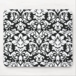 black and white damask flourish mousepads