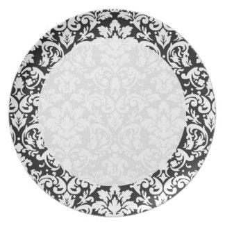 black and white damask flourish plate