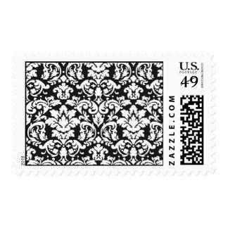 black and white damask flourish postage