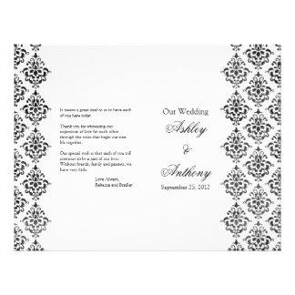 Black and White Damask Foldable Wedding Program