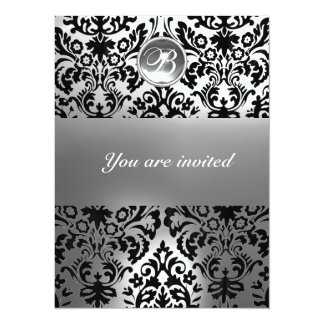 BLACK AND WHITE DAMASK GEM STONE MONOGRAM CARD