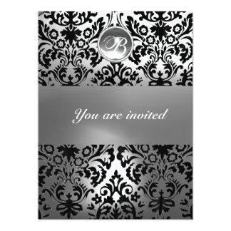 BLACK AND WHITE DAMASK GEM STONE MONOGRAM CARD