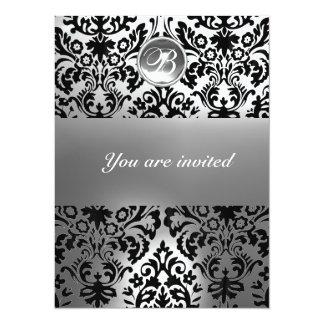 BLACK AND WHITE DAMASK GEM STONE MONOGRAM 5.5X7.5 PAPER INVITATION CARD