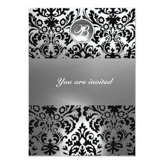 "BLACK AND WHITE DAMASK GEM STONE MONOGRAM 4.5"" X 6.25"" INVITATION CARD"