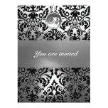 BLACK AND WHITE DAMASK GEM STONE MONOGRAM 6.5X8.75 PAPER INVITATION CARD