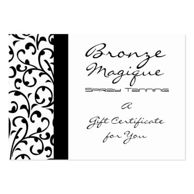 Black and White Damask Gift Certificate Card