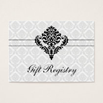 """black and white""  damask Gift registry  Cards"