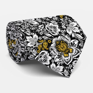 Black And White Damask Gold Accents Neck Tie
