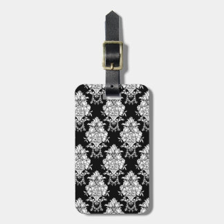 Black And White Damask Goth Travel Bag Tag