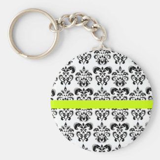 BLACK AND WHITE DAMASK , green yellow Keychain