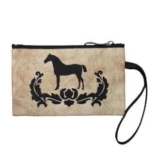 Black and White Damask Horse Change Purse