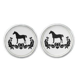 Black and White Damask Horse Cufflinks