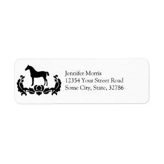 Black and White Damask Horse Label