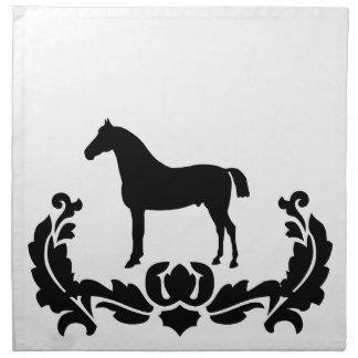 Black and White Damask Horse Napkin
