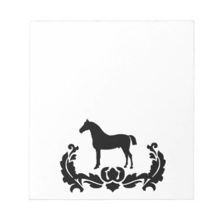 Black and White Damask Horse Notepads