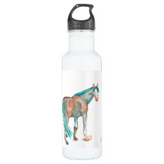 Black and White Damask Horse 24oz Water Bottle