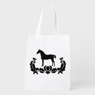 Black and White Damask Horse Reusable Grocery Bag