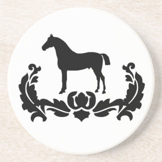 Black and White Damask Horse Sandstone Coaster